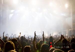une foule dans une salle de concert