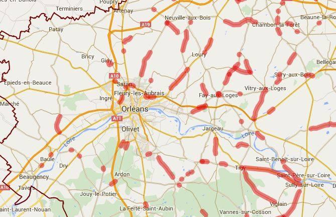 Carte des routes bloquées au 1er Juin 9h30 - Préfecture du Loiret