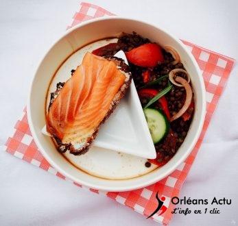 Salade de lentilles et tartine de saumon